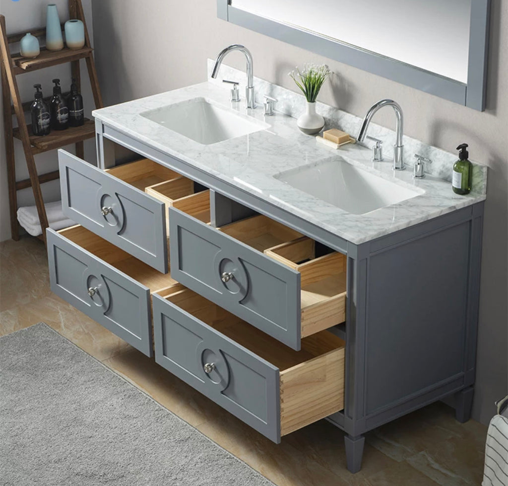 Rubeza 1500mm Layla Vanity Unit , Carrara Marble Top - Dark Grey & Chrome