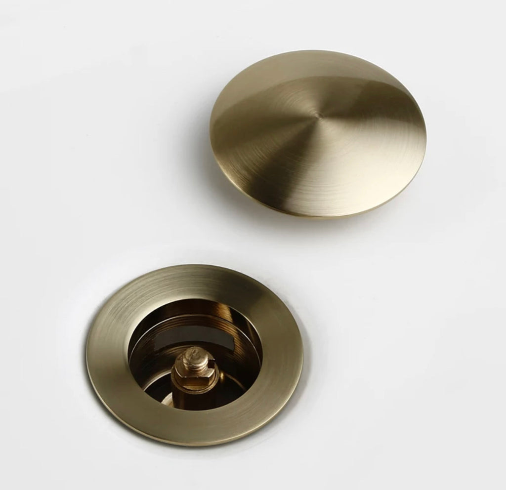 Brushed Gold Basin Waste Pop-up Drain plug hole