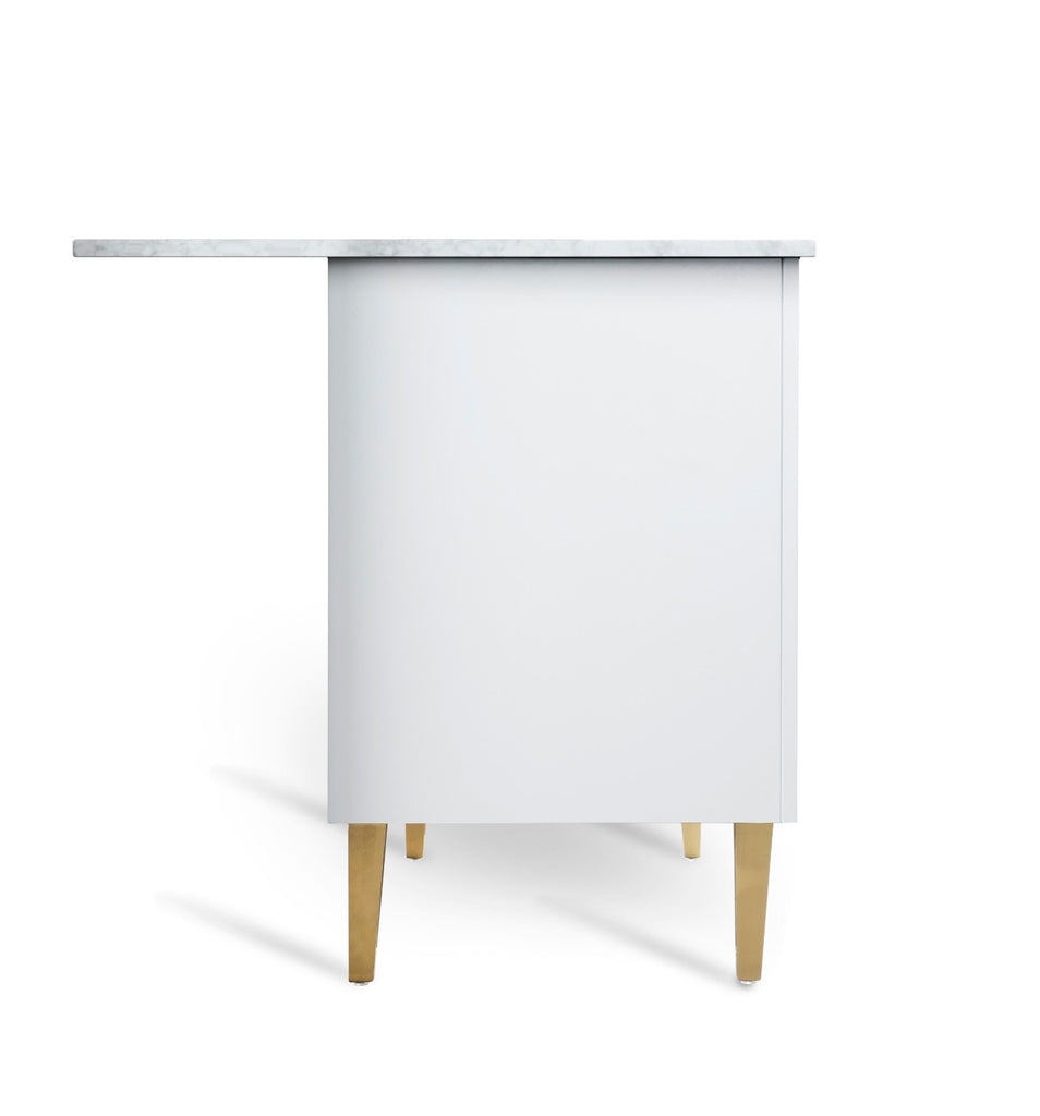 Rubeza White Dukes 1500mm Kitchen Island with Carrara Marble Top
