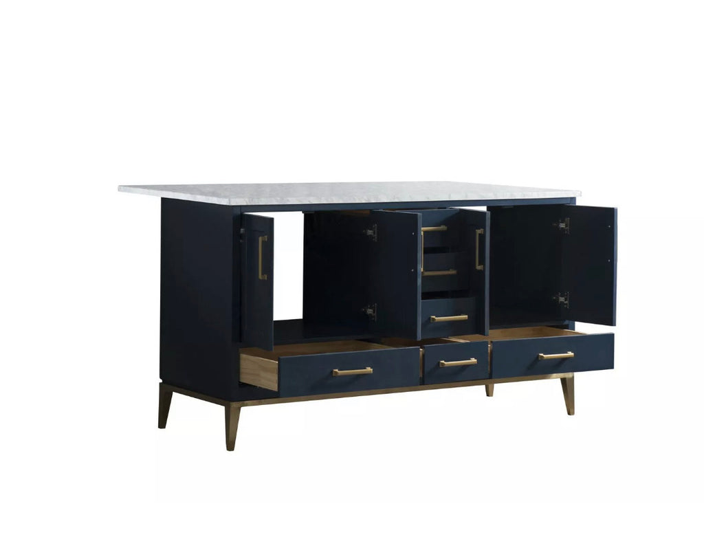Rubeza Blue Anatolia 1500mm Kitchen Island with Carrara Marble Top