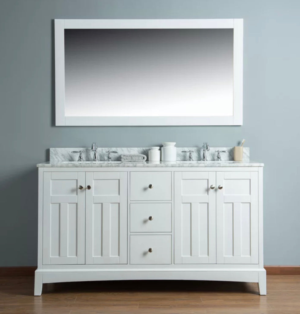 Rubeza 1500mm Pergamum White Double Vanity Unit with Marble Top Basin Sink