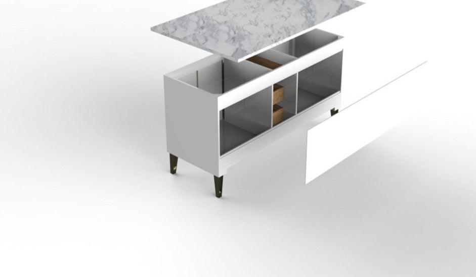 Rubeza Anatolia  Kitchen Island - Breakfast Bar , 2cm Italian Carrara Marble Top