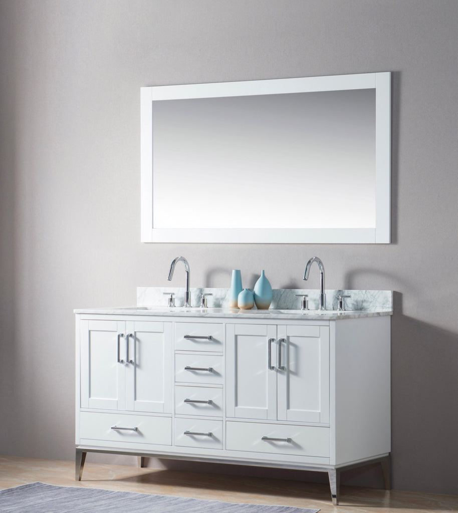 Rubeza Anatolia White - Chrome Double Sink 1500mm  Vanity Unit - 183160WHCHR