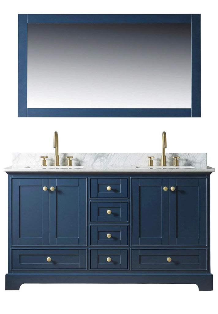 Rubeza 1500mm Charleston Dark Blue Double Vanity Unit with Carrara Marble Top Basin Sink
