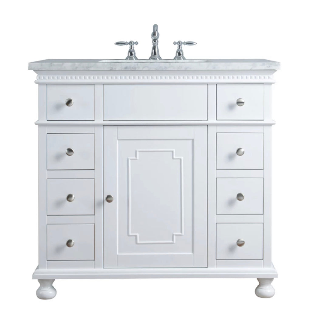 Rubeza 900mm Didim White Bathroom Vanity italian Marble Carrara Top - R013W36CR