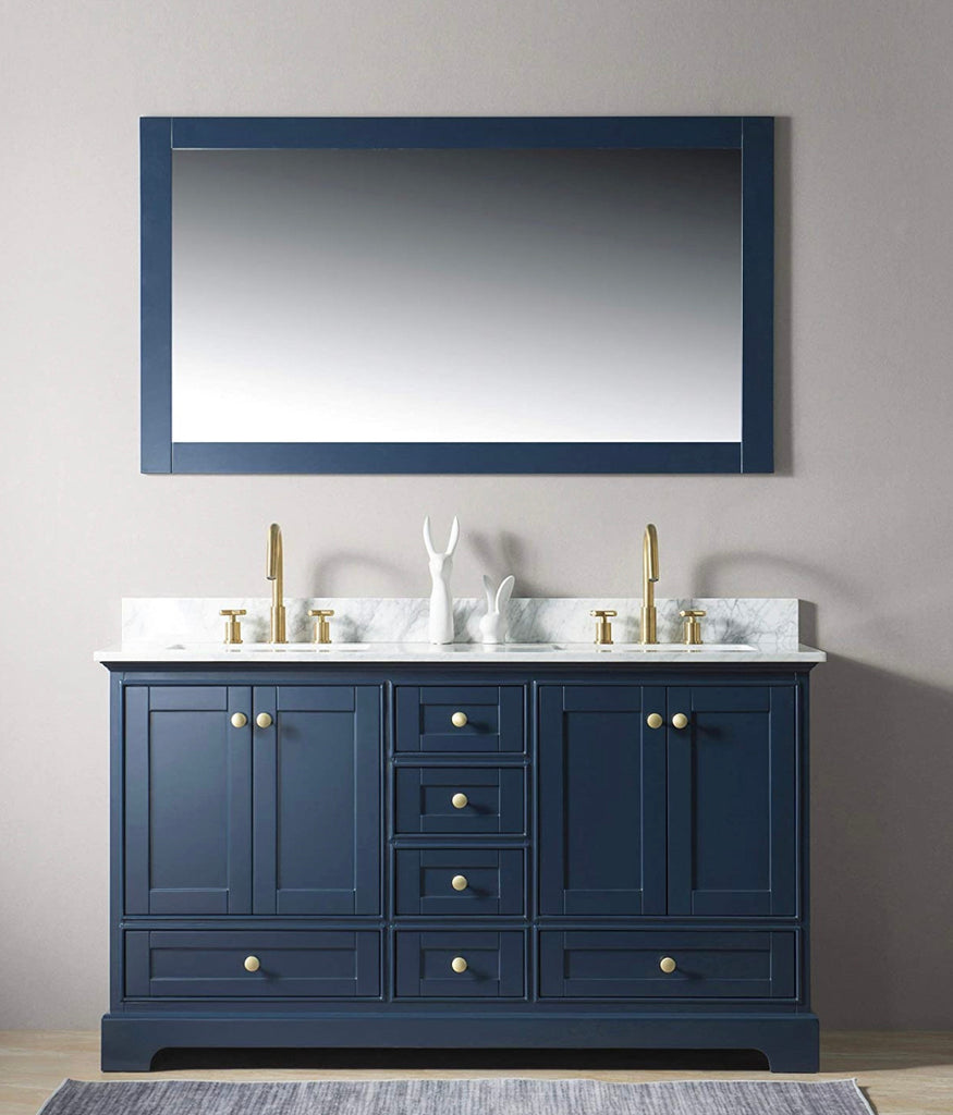 Rubeza 1500mm Charleston Vanity Unit , Carrara Marble Top - Dark Blue & Gold