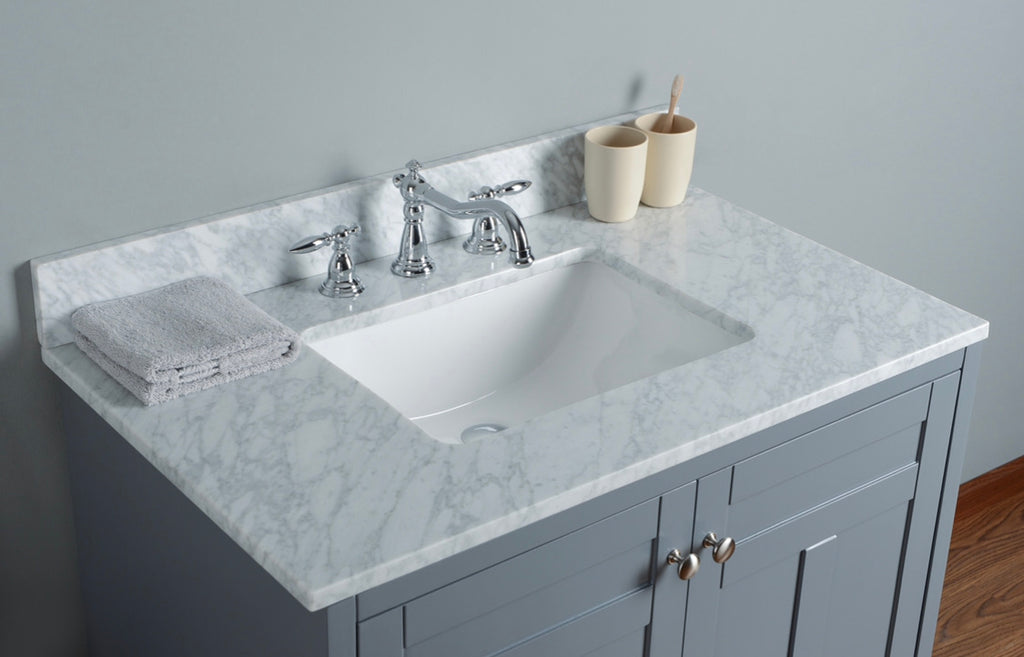 Rubeza 900mm Chorchoal Pergamum Bathroom Vanity White italian Marble Carrara Top
