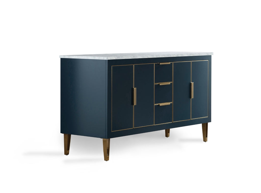 Rubeza Dukes Collection Blue Sideboard With Carrara Marble Top