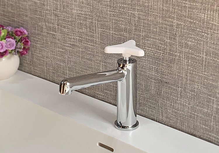 Rubeza Angela Collection Basin Mixer Tap - Chrome & White