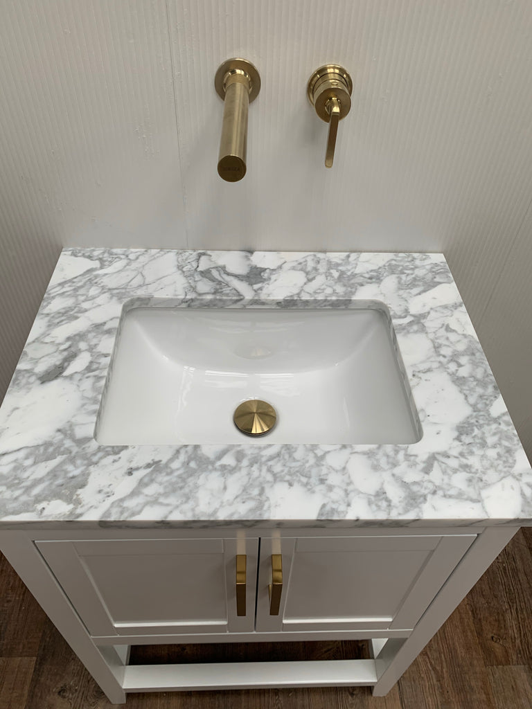 Rubeza Addison White Vanity Unit  Set - Gold
