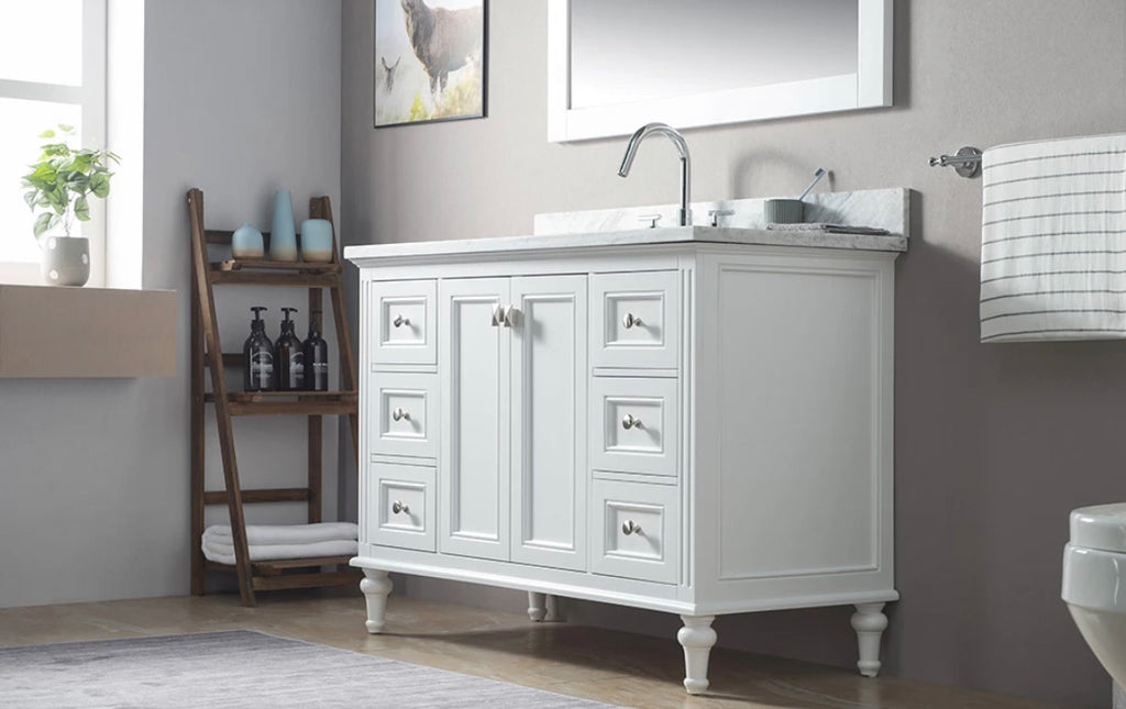 Rubeza 1200mm Mia White Bathroom Vanity  Set, White italian Marble Carrara Top