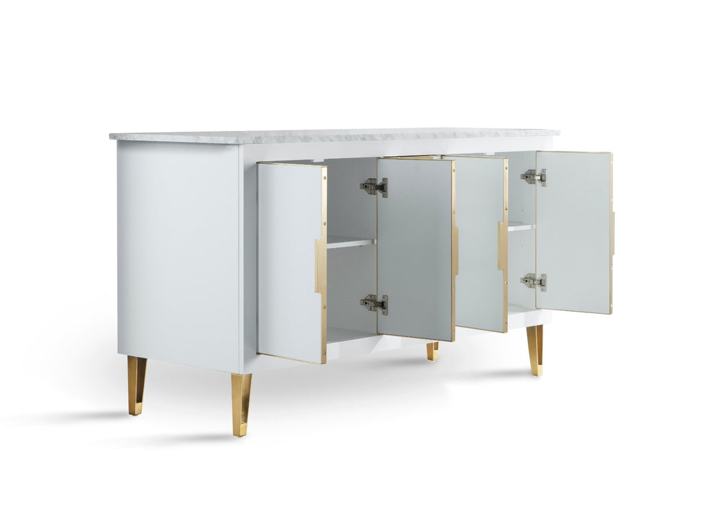 Rubeza Dukes Collection White Sideboard With Carrara Marble Top