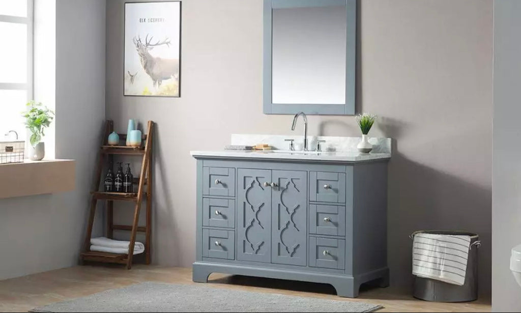 Rubeza 1200mm Palmer Bathroom Vanity  Set, White italian Marble Carrara Top