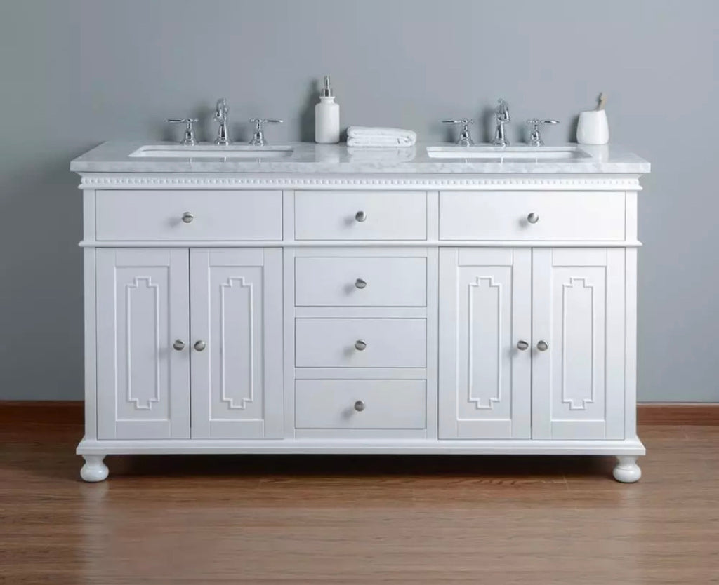 Rubeza 1500mm Double Sink Didim Vanity Unit - White