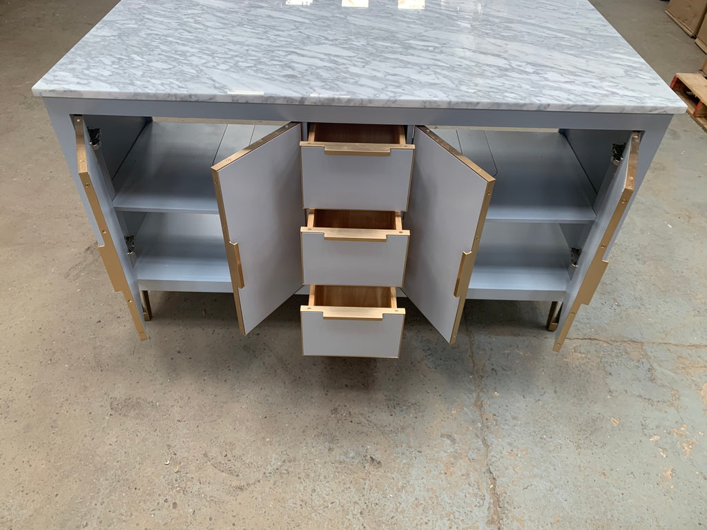 Rubeza Dukes 1500mm Kitchen Island with 2cm Italian Carrara Marble Top - Grey - Clearence Item