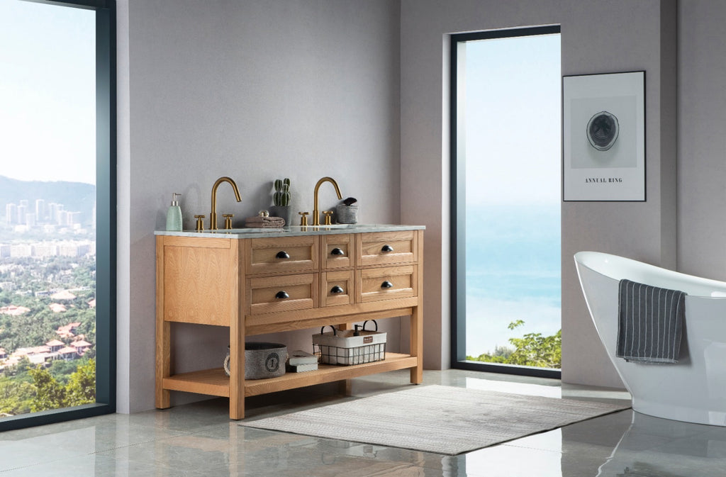 Rubeza 1500mm Allwood Vanity Unit , Carrara Marble Top - Weathered Oak & Black