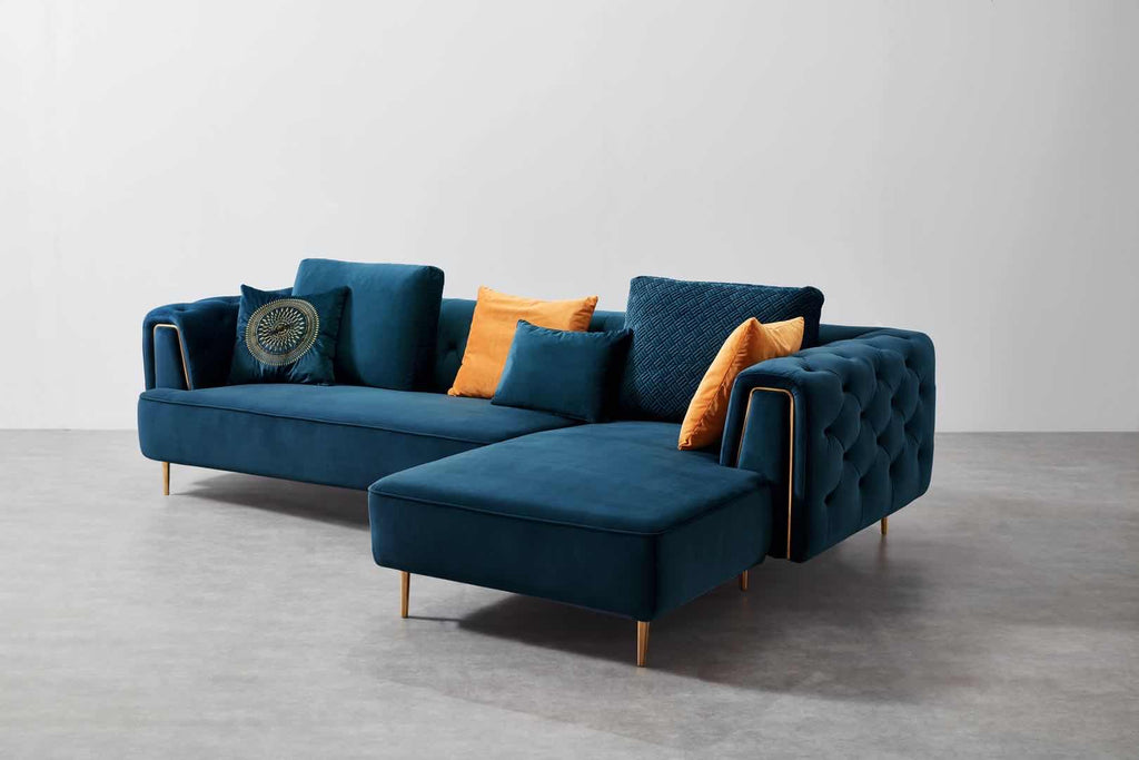 Rubeza Sofia Collection Right Hand Facing Corner Sofa - Dark Blue