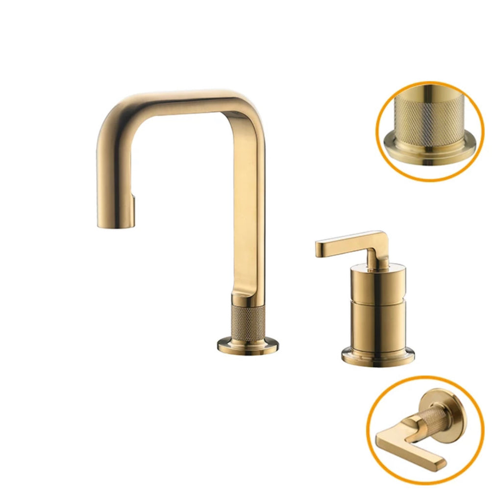 Rubeza Union Collection 2 Hole Brushed Gold Basin Mixer Tap