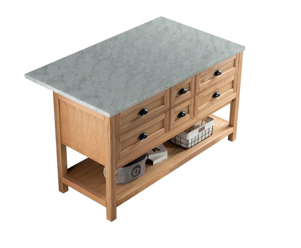 Rubeza 1500mm Allwood Kitchen Island with Carrara Marble Top