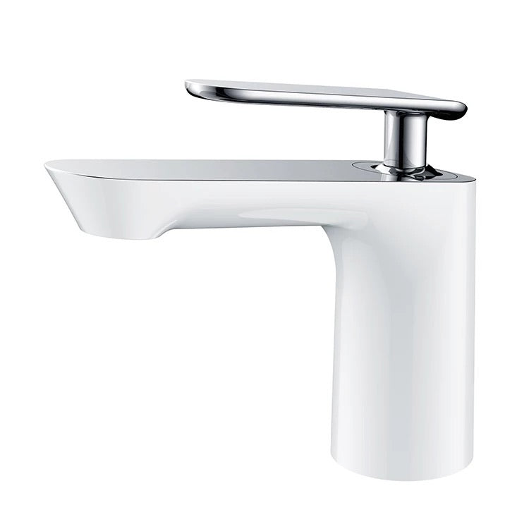 Rubeza Concetto Basin Mixer Tap - White and Chrome Brass
