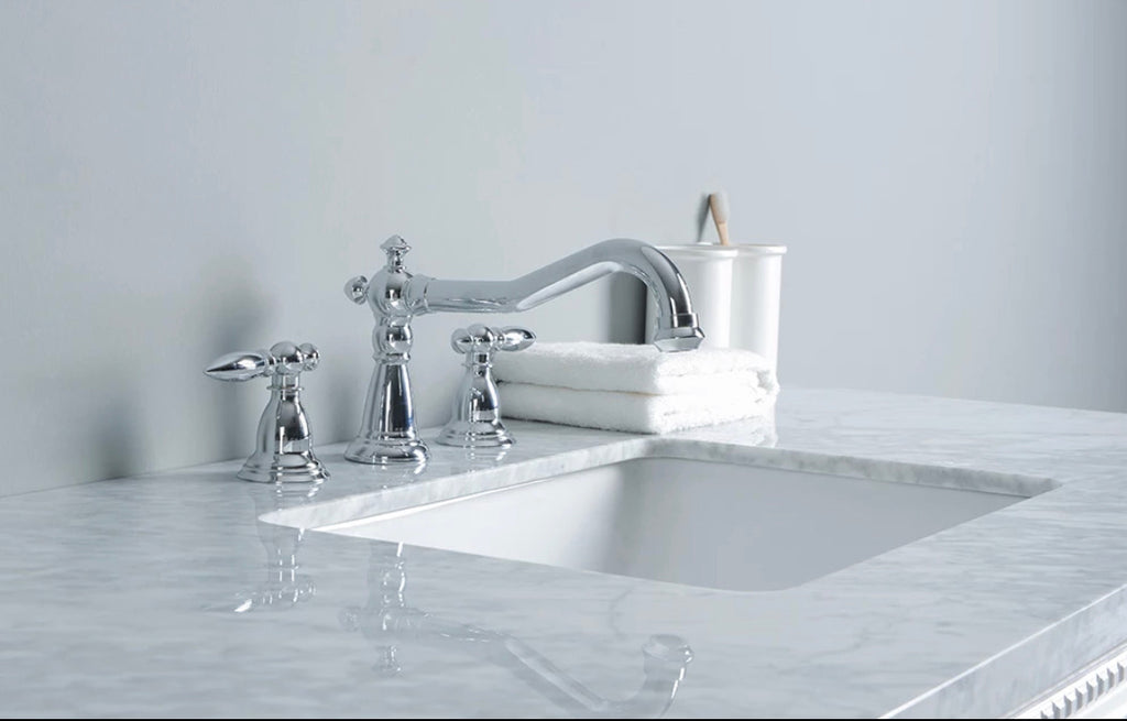 Rubeza 1200mm Didim White Bathroom Vanity  Set, White italian Marble Carrara Top