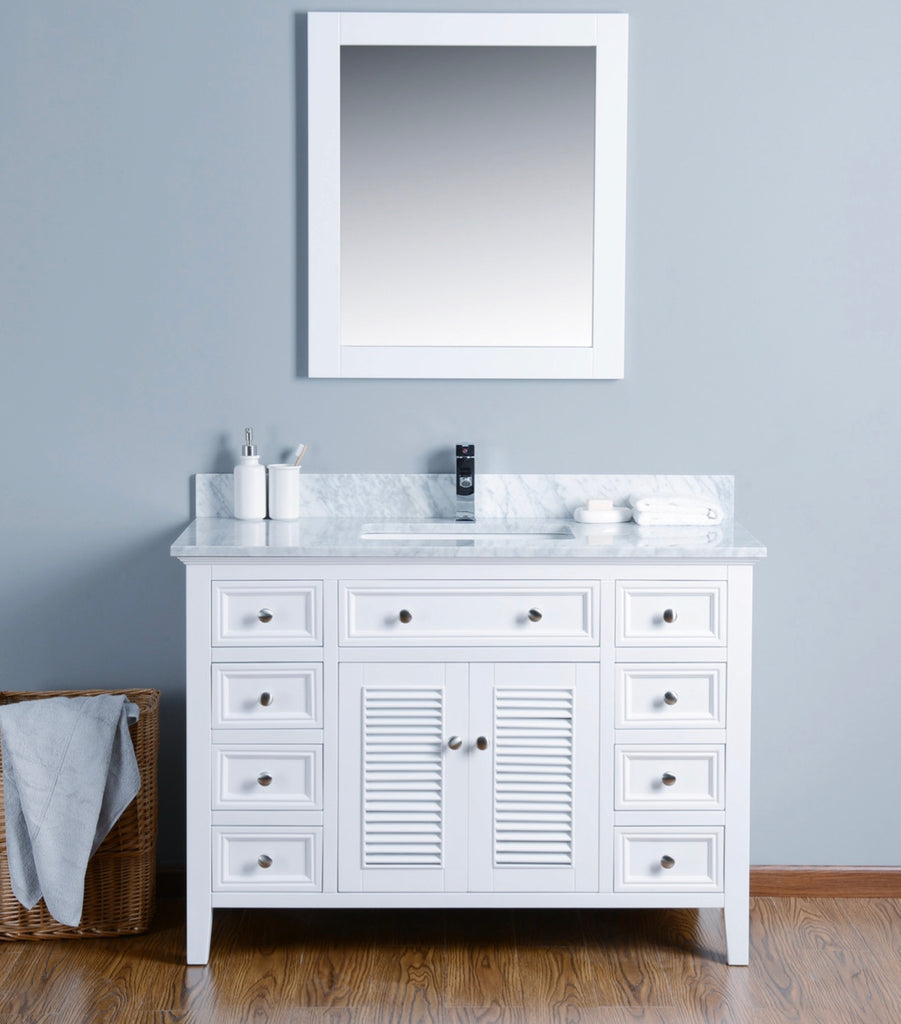 Rubeza 1200mm Camila Bathroom Vanity  Set, White italian Marble Carrara Top