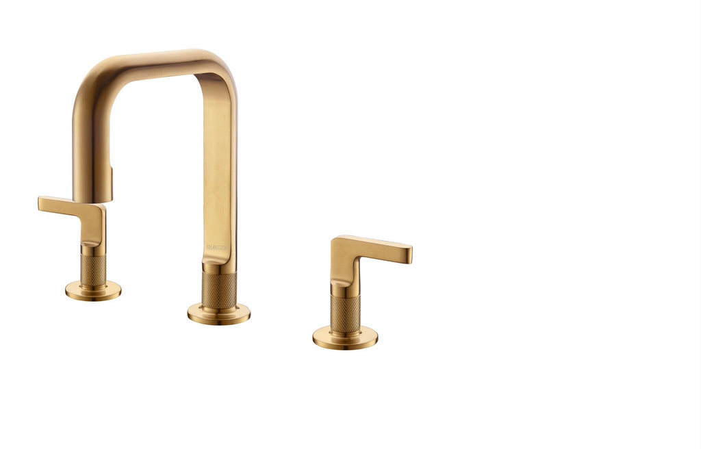 Rubeza Union Collection 3 Hole Brushed Gold Basin Mixer Tap -  1379300TT