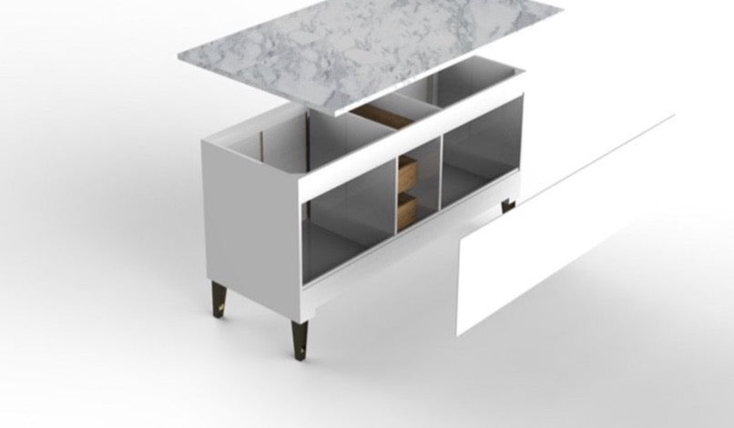 Rubeza Allwood 1500mm Kitchen Island & Breakfast Bar  with Carrara Marble Top