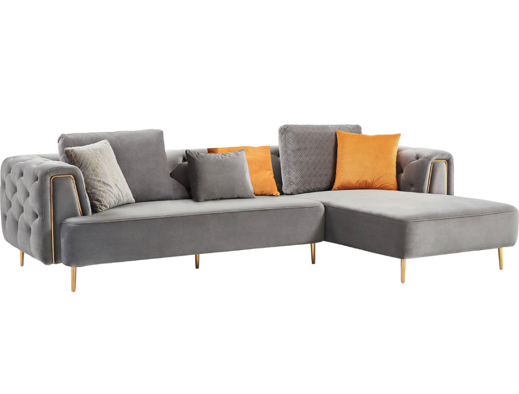 Rubeza Sofia Right Hand Facing Corner Sofa - Medium Grey