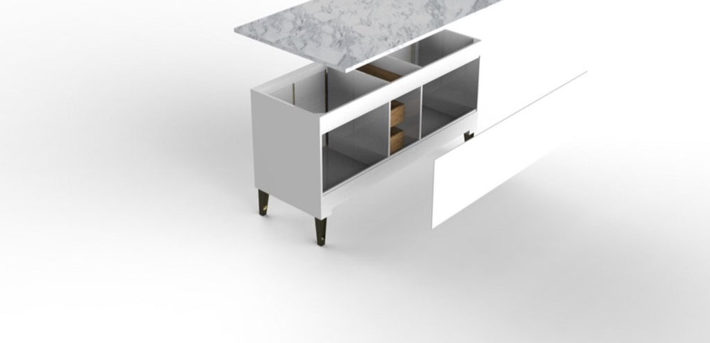 Rubeza White Dukes 1500mm Kitchen Island with 2cm Italian Carrara Marble Top