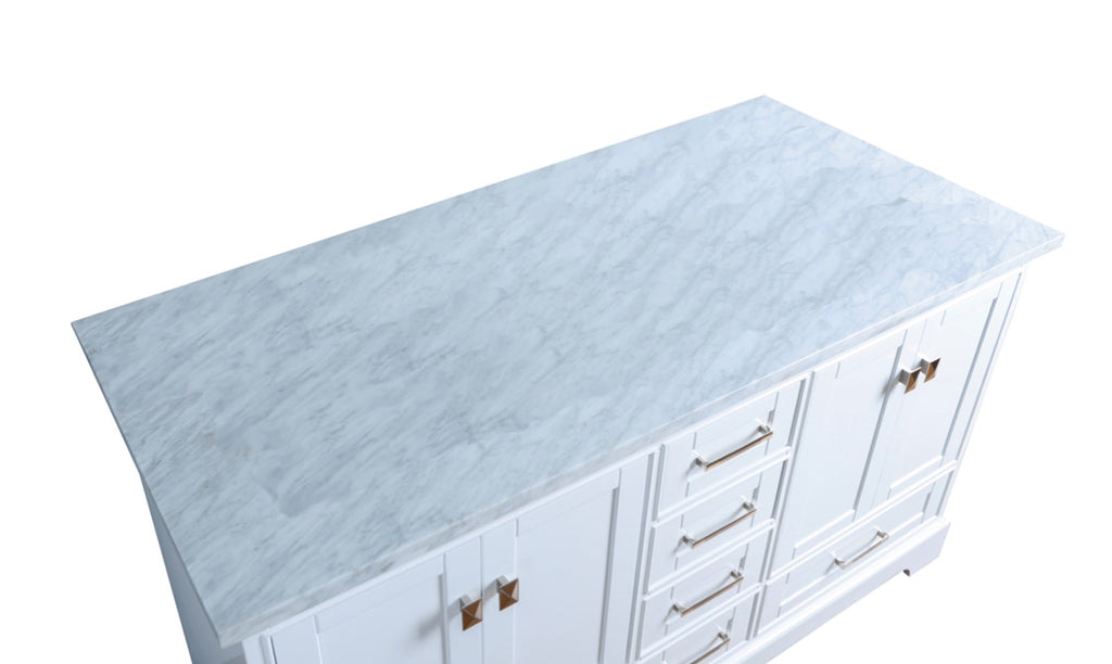 Rubeza 1500mm Charleston Kitchen Island with Carrara Marble Top, White & Chrome
