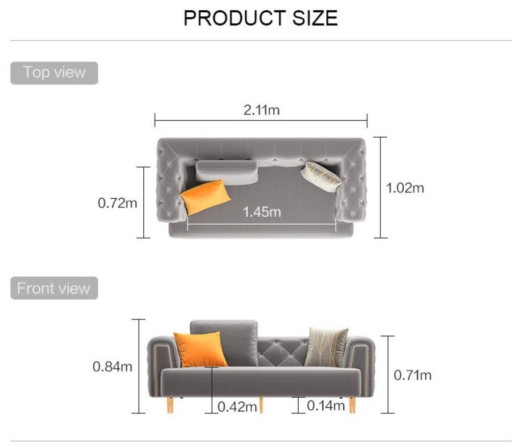 Rubeza Sofia 3 Seater Sofa -  Medium Gray