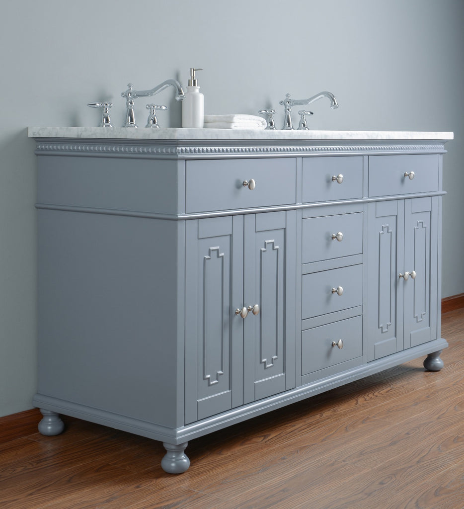 Rubeza 1500mm Double Sink Didim Vanity Unit, Carrara Marble Top - Dark Grey