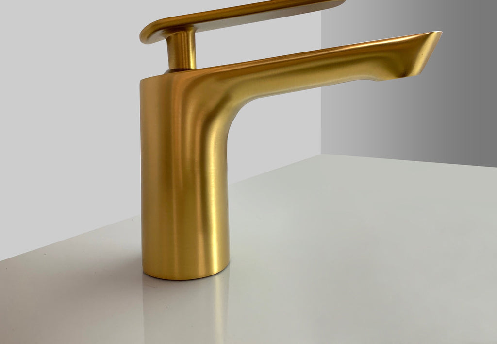 Rubeza Concetto Basin Mixer Tap - Brushed Gold Brass - 110 1100TT