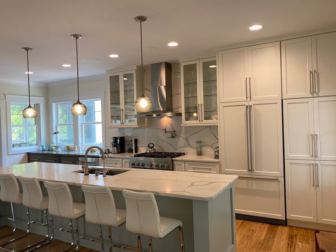 Swell Glass Style Featured in Striking Kitchen and Bathroom Remodel in Southport, NC