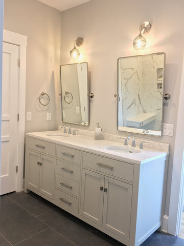 Bicycle Glass Swell 763 Wall Sconces in Gray with Brushed Nickel Hardware, bathroom lights over mirror and two sink vanity