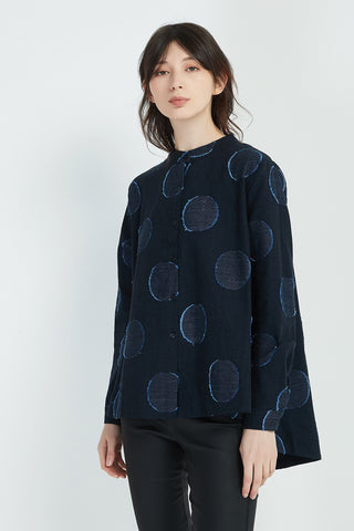 Cropped Big Spot Shirt in Navy
