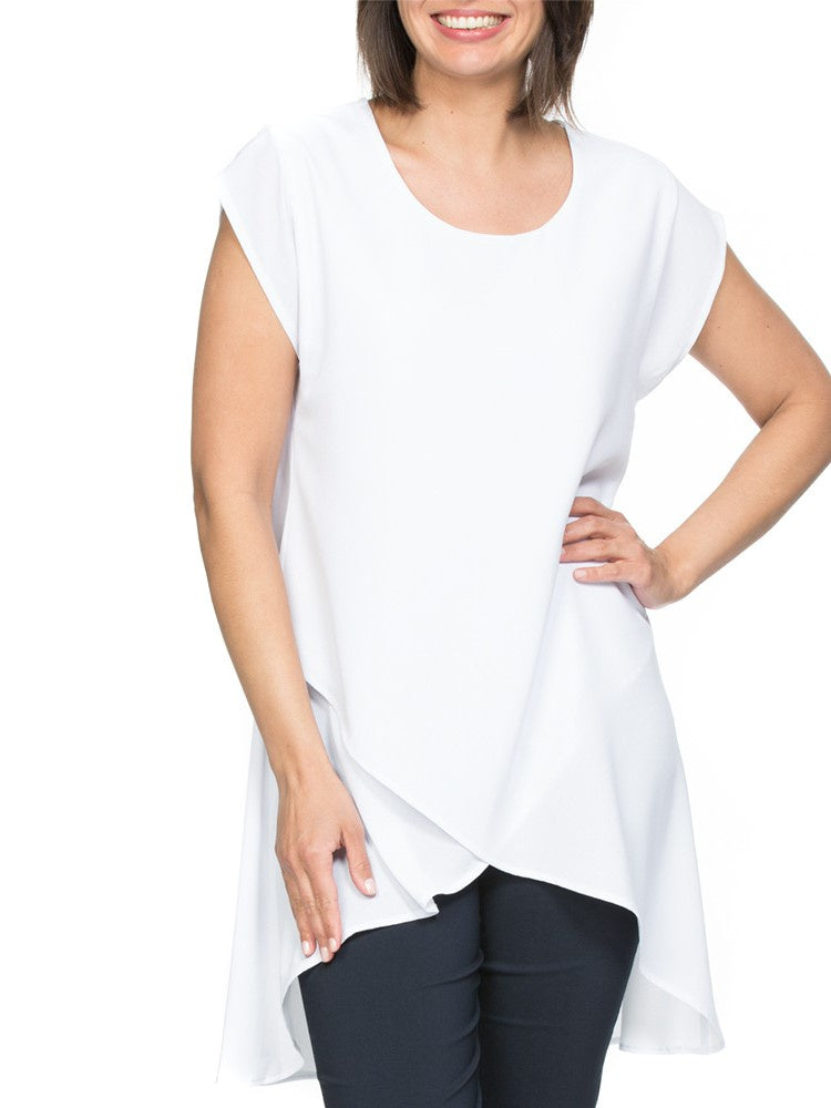 Asymmetric Layered Top in White