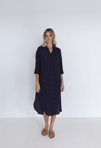 Melody Shirt Dress in Navy