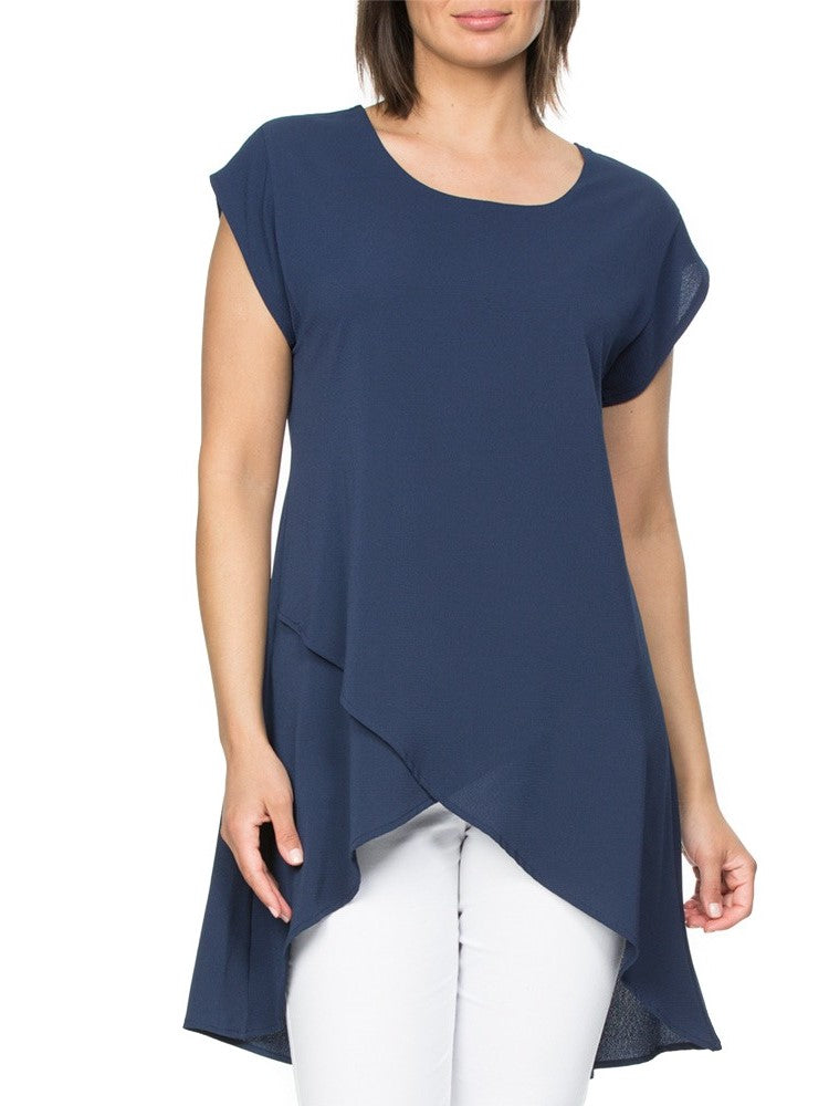 Asymmetric Layered Top in Navy