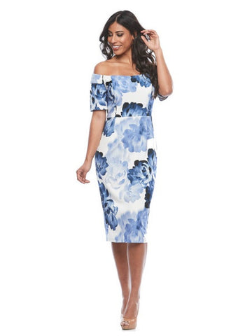 Zaliea Glacier Floral Cocktail Dress