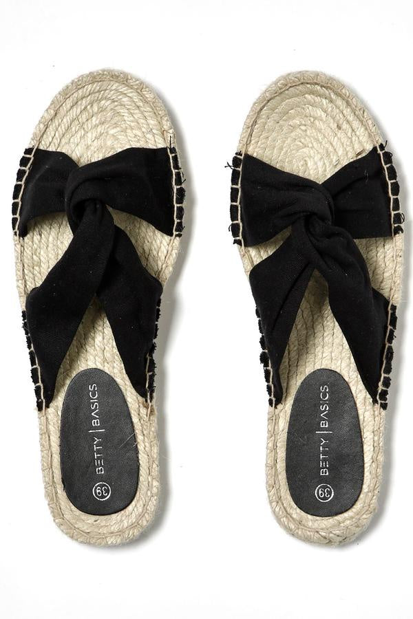 Black Coastal Espadrille Slide