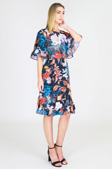 Ruffle Sleeve Print Dress