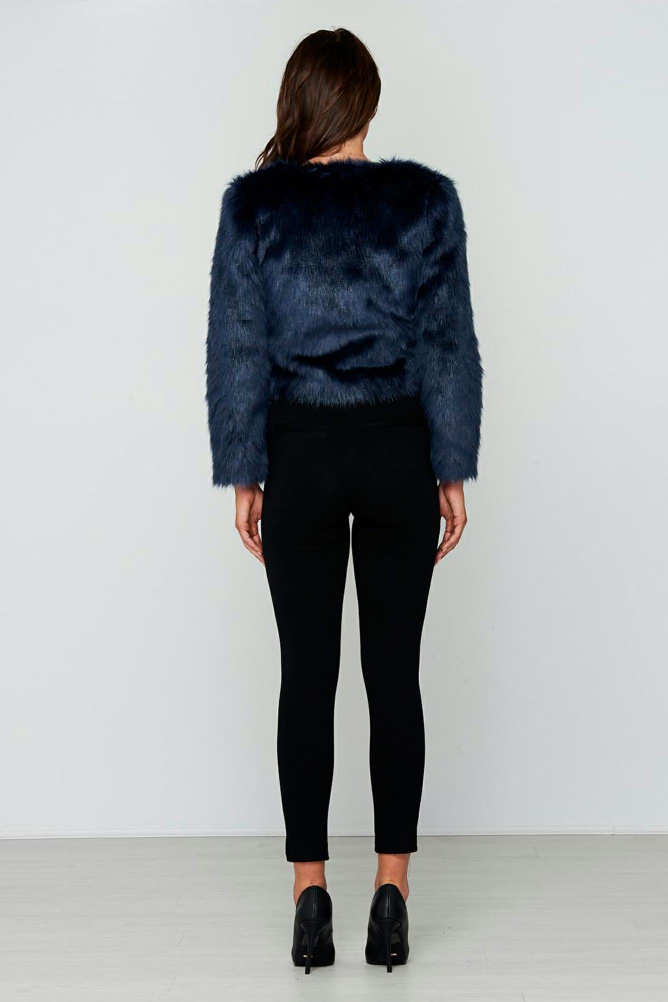 Navy Faux Fur Boss Jacket