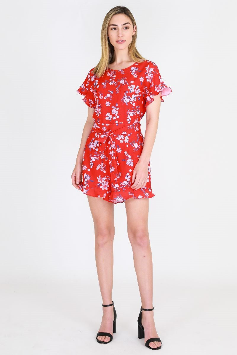 3rd Love Red Ditsy Playsuit
