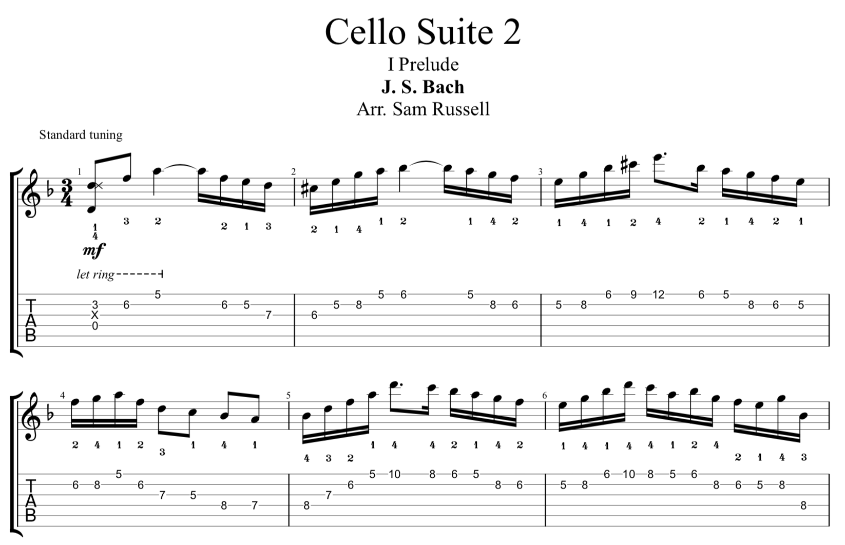 Bach's 2nd Cello Suite for Electric Guitar: 1. Prelude [PDF]