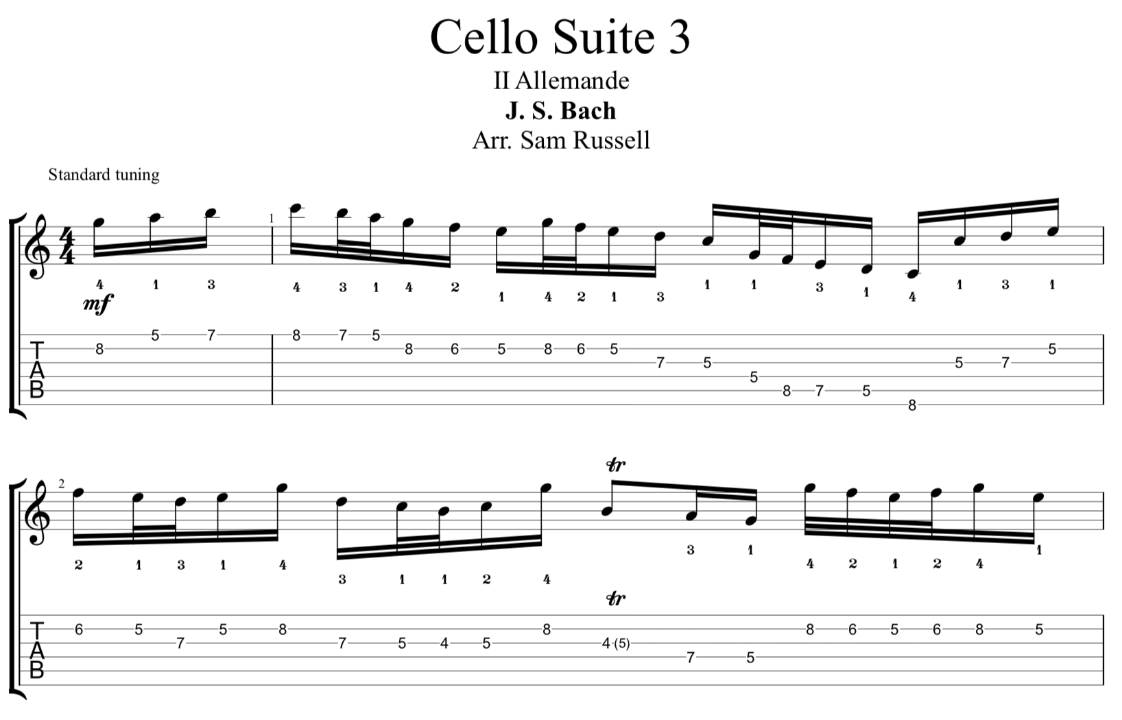 Bach's 3rd Cello Suite for Electric Guitar: 2. Allemande [PDF]