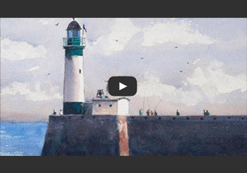 "Watercolor demonstration of ""The lighthouse of Tréport"""