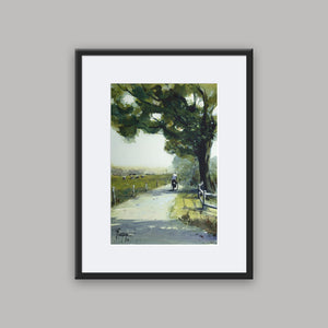 """Lonely Cyclist"" framed watercolor painting"