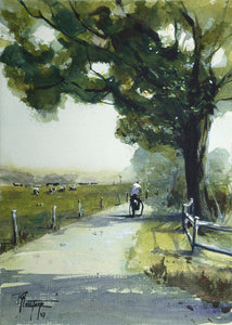 """Lonely Cyclist"" watercolor painting"
